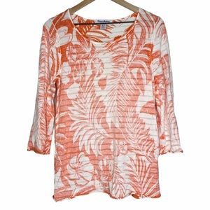 Tommy Bahama Orange/White Tropical Cover Up Top